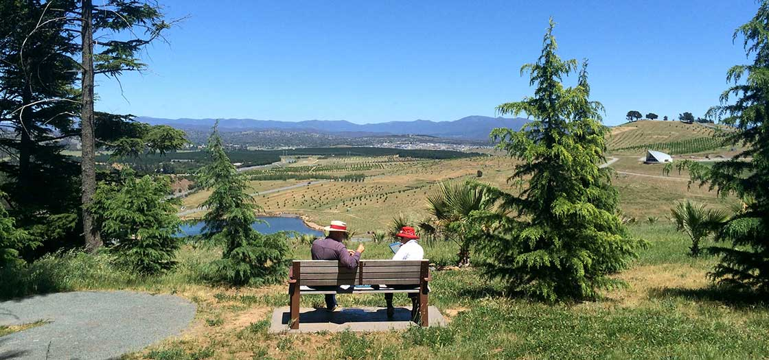 2 people sitting on a bench